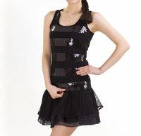 Women's black stripe 2013 paillette vest spaghetti strap