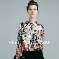 Hot Whosale 1pc Women's Flower Print Stand Collar Button Chiffon Long Sleeve Tops Blouses S/M/L  651315