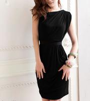 New Korean Women's Elegant One Shoulder Clubwear Sexy Pleated Wrap Party Mini Dress with Elastic Belt Free Shipping  Blue Black