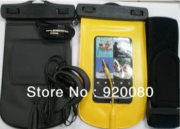 Waterproof Case Bag Strap +headset for iphone4/4s, PVC Waterproof pounch Case Skin Cover for iphone,