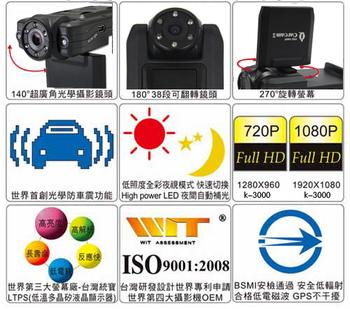 Free Shipping IR Night Vision K3000 Car Dvr Cameras HD1080P Max To 32GB