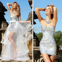 New Sweetheart Heavy Beaded Detachable Train Tull Mini Short Prom Dresses Gowns New Arrival