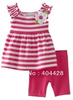 Free shipment 5sets/lot red striped tops with flower+red half pant wholesales 248