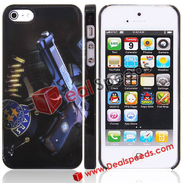 100pcs/lot Wholesale Free Shipping For iPhone 5 Skin Cover, Cool Stars Handgun Design Hard Skin Cover for iPhone 5(China (Mainland))