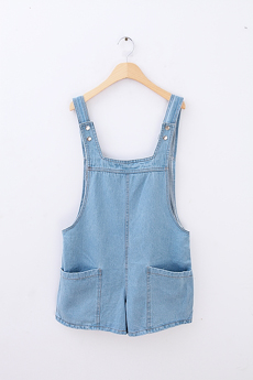hot sale Spring light blue big pocket loose denim bib pants shorts(China (Mainland))