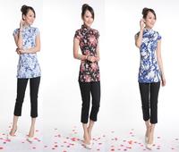 2pcs/lot Wholesale Chinese Vintage Fashion Flora/Bamboo Print T-Shirt Cheongsam Style T-shirt Top Tang Suit 3 Patterns