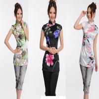 Sale! 2pcs/ lot Women's Fashion Silk Cheongsam Top Chinese Style T-shirt Multipattern S-XL