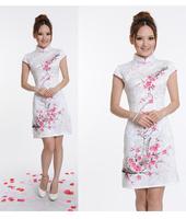 Wholesale!! Chinese Jacquard Cotton Cheongsam Hand painted peach blossom Qipao White