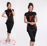 Hot Sale Fashion Chinese Embroidered Dragon /Phoenix Cheongsam Women's Improved Version T-shirt Top Black Free Shipping