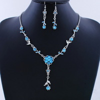 Blue Flower Jewelry Acrylic Alloy Jewelry Set Cheap Necklace Hook Earrings 2 Sets Free Shipping