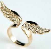 Min.order is $15 (mix order) 17mm size Fashion Exquisite Rhinestone angel wing Ring Jewelry for women J1384