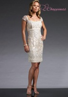 Elegant A Line Lace Beading Mother Of The Bride Dress Knee Length Square