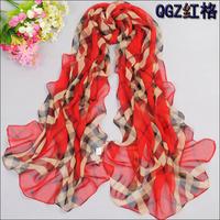 Plus size paragraph spring and summer female faux silk print scarf cape plaid silk scarf
