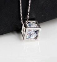 XL-7 free shipping 2013 new arrivals square style ladies`pendant necklaces 925 stamp silver +zircon crystal + platinum plated