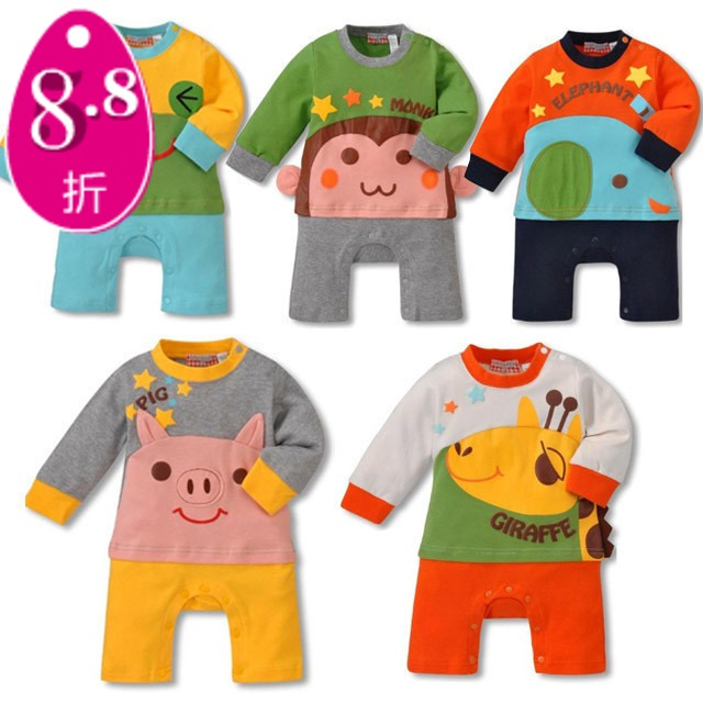 Spring animal style long-sleeve faux two piece one piece romper baby romper child cartoon children's jumpsuit clothing(China (Mainland))