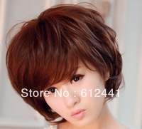 Free Shipping New Fashion Women Lady Girls Short Curl Hair Wig  Black ,Light and Dark Brown Color