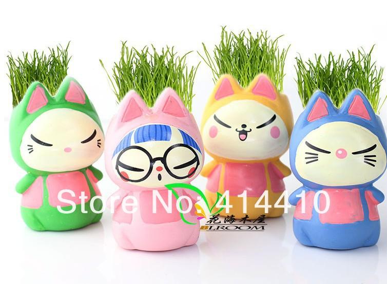 20 pcs Mini Plant Bonsai Cartoon Cat Grass Dolls Green Plants wholesale Ceramic plant pots with seeds bonsai Home Decoration(China (Mainland))