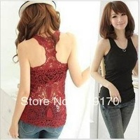 2014 New Regata Feminina free Shipping Korea Women's Tank Top Shirt Hollow-out Vest Waistcoat Crochet Lace Camisole Pierced