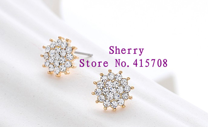 (Minimum order $15) 18K Rose Gold Plated with CZ Diamond Snow ear stud FREE SHIPPING!(Sherry MPH02)(China (Mainland))
