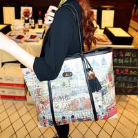 Cat bag fashion doodle 2013 shopping bag casual shoulder bag female bags m32-014