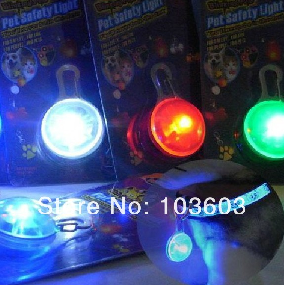 Pet ID card, LED light dog tag, anti-lost luminous circular pendants, dog identity card, 100pcs/lot+Free Shipping(China (Mainland))