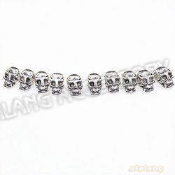 New Charm beads 150pcs/lot Skull Head Antique Silvery Alloy Spacer Beads Findings Fit European Jewelry 10x6x7mm 112208(China (Mainland))