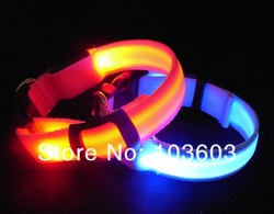 2013 new double-sided exposure solid color LED fiber optic leash, pet flash collars, 6 color 50pcs/lot+Free Shipping(China (Mainland))
