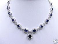 "precious White Gold Blue Sapphire Necklace 18"""
