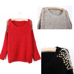 CREW NECK BAT SLEEVES DECORATED WITH RIVETS KNIT SWEATERS WF-3899(China (Mainland))