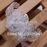 silver Bangle jewelry fashion Big flower 925 sterling silver Bracelet open bangle Lady women Christmas gift Valentine's day B164