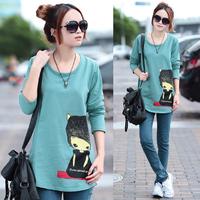 T-shirt long-sleeve female loose 2013 women's spring AYILIAN shirt female fashion basic shirt female