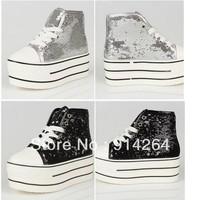 Women's Canvas Sneakers Glitter Lace up Platform Heel Shoes Boots Preppy Pumps