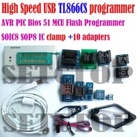TL866 TL866CS Programmer AVR PIC Bios 51 MCU Flash programmer +10 adapters+ SOIC8 IC clamp high speed USB programmer