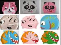 2014 New Promotion free Touca Feminina Diving Silicone Popular Cartoon By Children Modelling Swim Cap Silica Gel Swimming Caps