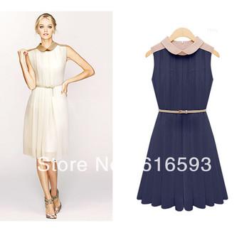 Free Shipping D103 Graceful Peter Pan Collar Color Block Knee Length Sleeveless Chiffon Dress Beige/Navy