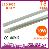 Wholesale 30pcs/carton 10W / 830LM / AC85V~265V/600mm T8 led tube 54pcs(2835 SMD) Epistar Chip CE&ROSH Free Shipping DHL/FEDEX