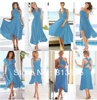 Hot Sale Free Shipping Cheapest Jersey Multi Way Wraps Light Blue Convertible Bridesmaid Dress Evening Party Dresses Long Style