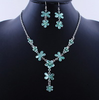 Hot Selling Green Enamel Dragonfly Jewelry Set Link Chain Necklace Earrings 2 Sets Free Shipping