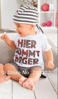 2013 spring summer Boy three-piece set (Streak hat+LETTER T-shirt + short pants)  boy suits  wholesale