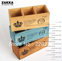 Zakka vintage wool solid wood 3 fps pen remote control box storage box wooden box three-color