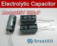 Free shipping 100pcs 680UF 35V electrolytic capacitor,35V 680 microfarad capacitors