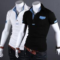 Free Shipping Fashion unique design Korean  influx of men Slim POLO short shirt US Size:XS,S,M,L       8598