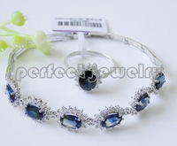 Free shipping Sapphire jewelry set Real and natural sapphires 1pc chain bracelet  1pc ring With zircons Blue gems S925 silver