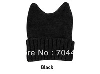 Free Shipping 2013 New Arrival Rabbit Cap Winter Warm Hat Women's Devil Horn Knitted Hat Cat Ears Knitted Caps H16