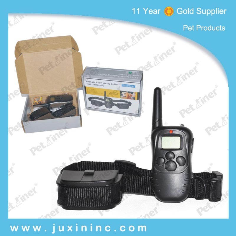 Freeshipping 300 meters LCD Remote control dog Training Collar bark stop collar with LCD display for 1 dog or 1 dog(China (Mainland))