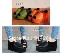 Women's Platform Heel Flats Peep Toe Shoes Retro Pumps Casual Shoes Preppy
