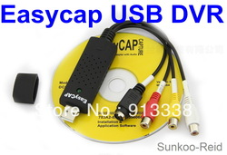 Free Shipping! Easy Cap Recorder Capture Card External 1 CHANNEL CCTV USB2.0 DVR Capture Adaptor EasyCap USB TV DVD VHS 1PC(China (Mainland))