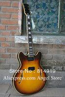 Wholesale Unfinished Jazz Hollow Body Sunburst Electric Guitar Free Shipping