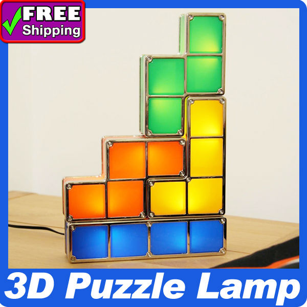 New Arrival Tetris light lamp recesky 3d puzzle lamp novel special gifts for baby 2pcs/lot wholesale Freeshipping/ Dropshipping(China (Mainland))
