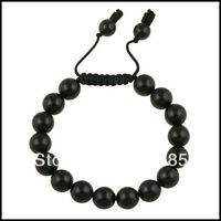 1X SHB2000 Gift Box+10mm Mens Adjustable Black Matte Obsidian Mala Power Bead Bracelet Fashion Shamballa Jewelry Mini Order $15